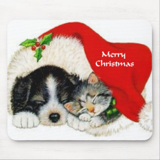 Puppy and Kitten Christmas Gifts Mouse Pad