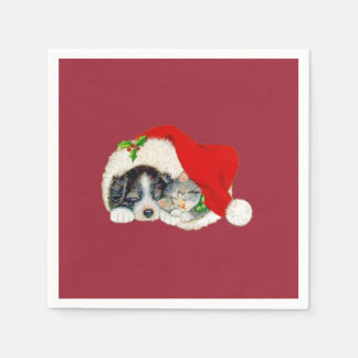 Puppy and Kitten Paper Napkins Christmas