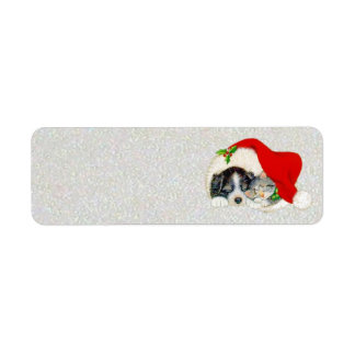 Puppy and Kitten Sleeping Under Santa's Hat Label