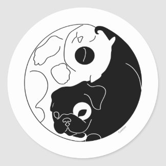 Puppy and Kitten Ying Yang Classic Round Sticker
