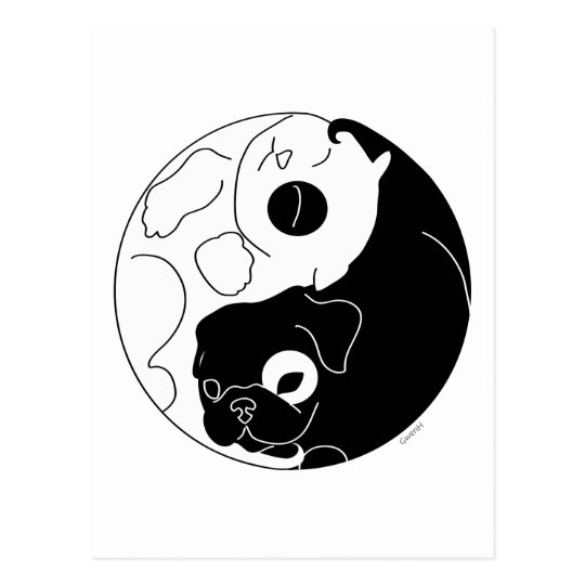Puppy and Kitten Ying Yang Postcard