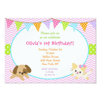 Puppy and Kitty Birthday Invitations