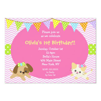 Puppy and Kitty Cat Dog Birthday Invitations