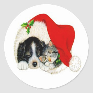 Puppy and Kitty Classic Round Sticker