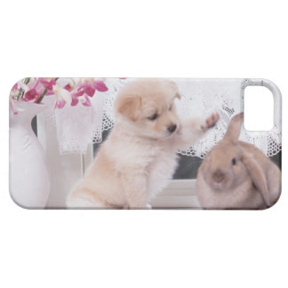 Puppy and Lop Ear Rabbit iPhone 5 Cases