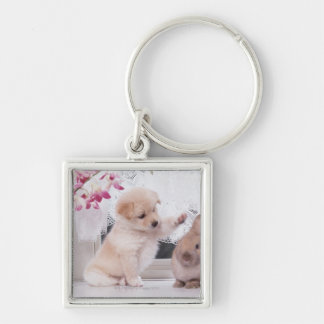 Puppy and Lop Ear Rabbit Keychain