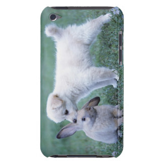 Puppy and Lop Ear Rabbit on lawn iPod Touch Cover