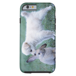 Puppy and Lop Ear Rabbit on lawn Tough iPhone 6 Case