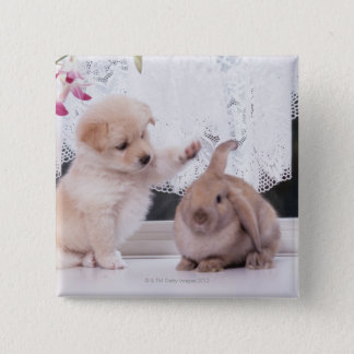 Puppy and Lop Ear Rabbit Pinback Button