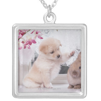 Puppy and Lop Ear Rabbit Silver Plated Necklace