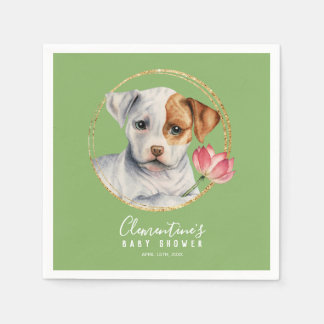 Puppy and Lotus with Faux Gold Spring Baby Shower Napkin