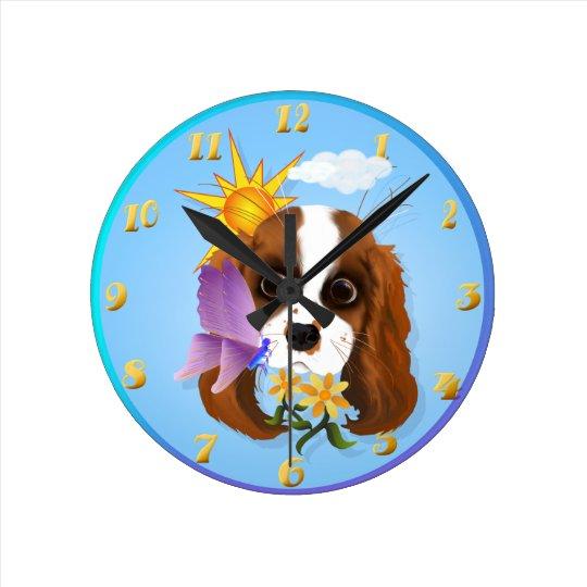 Puppy and Nature Round Clock