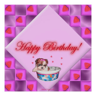 Puppy and Pink Hearts Birthday Poster