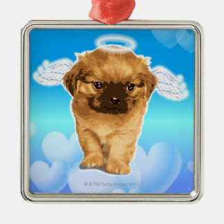 Puppy Angel Metal Ornament