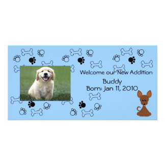 Puppy Announcement - Blue Photo Card