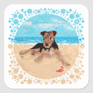 Puppy at the Beach Square Sticker