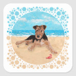 Puppy at the Beach Square Stickers