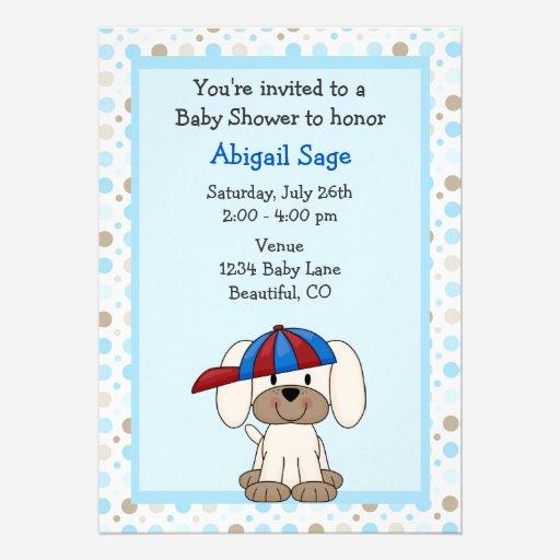 Custom puppy dog invitations invites templates babyfavors4u puppy baseball baby shower invitation for boys filmwisefo