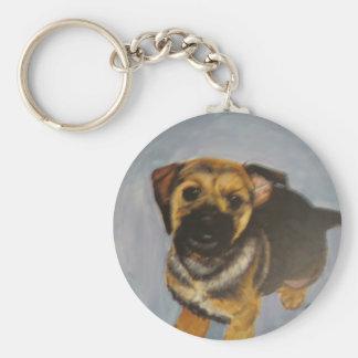 puppy basic round button keychain