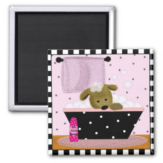 Puppy Bath 2 Inch Square Magnet