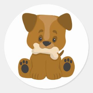 Puppy Big Paws Sitting Round Stickers