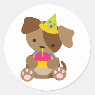 Puppy Birthday Classic Round Sticker