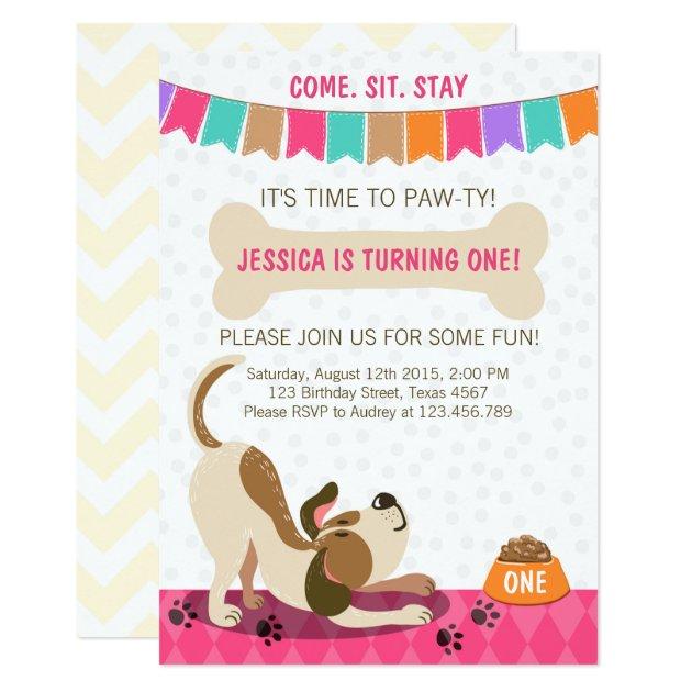 puppy birthday invitation pawty puppy party  zazzle, Party invitations