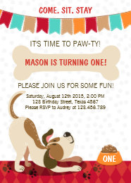 Puppy birthday invitations announcements zazzle puppy birthday invitation paw ty puppy party filmwisefo Choice Image