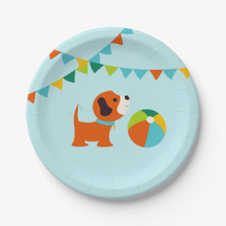 Puppy Birthday Paper Plate v1.0 7 Inch Paper Plate