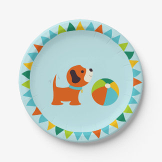 Puppy Birthday Paper Plate v2.0 7 Inch Paper Plate