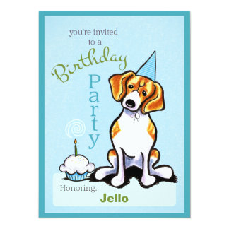 Puppy Birthday Party Beagle Boy Off-Leash Art™ Personalized Invitation