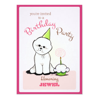 Puppy Birthday Party Bichon Girl Off-Leash Art™ 5.5x7.5 Paper Invitation Card