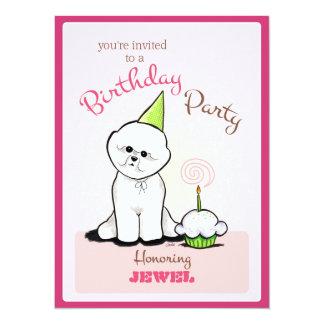 Puppy Birthday Party Bichon Girl Off-Leash Art™ Card