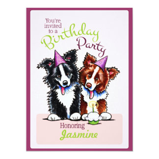 Puppy Birthday Party Border Collies Girl Purple Card