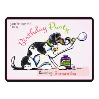 Puppy Birthday Party Foxhound Girl Off-Leash Art™ Card
