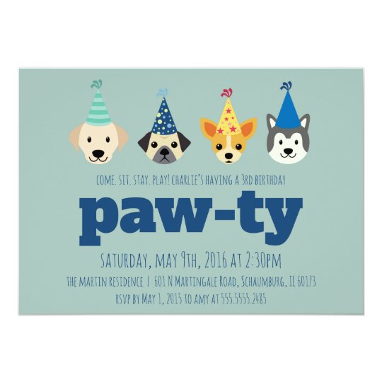 Puppy Birthday Party Invitation Dog Invite