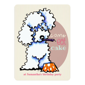 Puppy Birthday Party Poodle Girl Off-Leash Art™ Card
