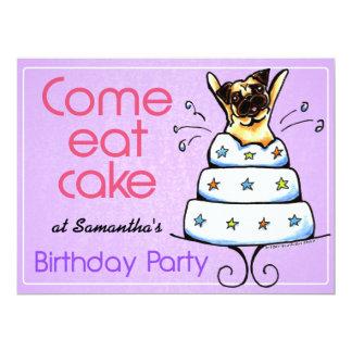 Puppy Birthday Party Pug Cake Girl Off-Leash Art™ Custom Invitation