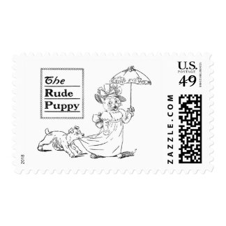 Puppy Biting Cat's Dress Postage Stamps