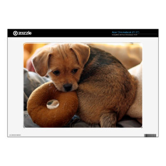 puppy biting her toy acer chromebook skins