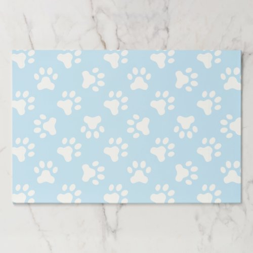 Puppy blue paw prints birthday party placemats
