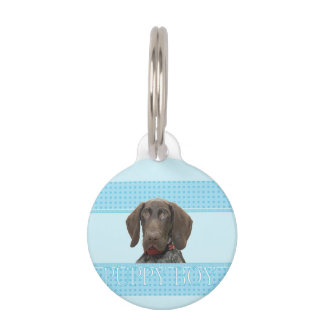 Puppy Boy Glossy Grizzly Dog tag Pet Name Tag