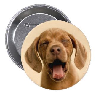 """""""Puppy Breath"""" Chocolate Lab Puppy Round Button"""