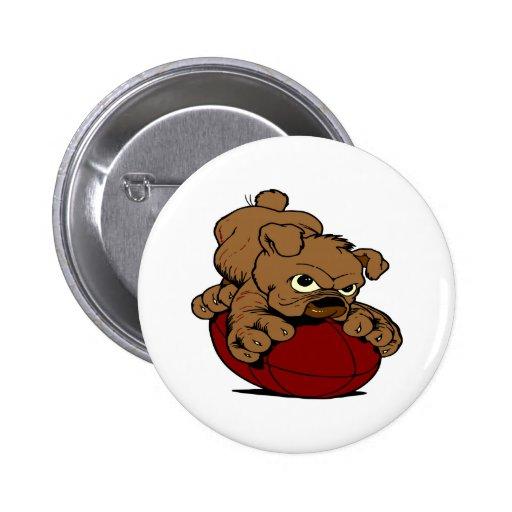 Puppy BullDog Football Pinback Button