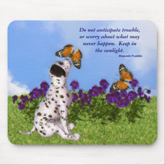 Puppy Butterflies Attitude Quote Mousepad