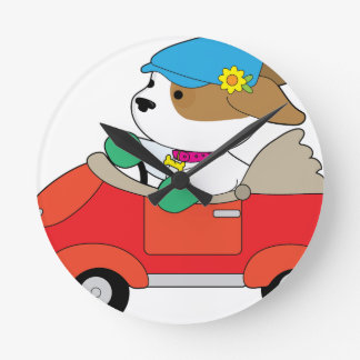 Puppy Car Round Clock