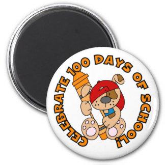 Puppy Celebrate 100 Days 2 Inch Round Magnet