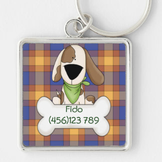Puppy & Check Dog ID Tag Silver-Colored Square Keychain