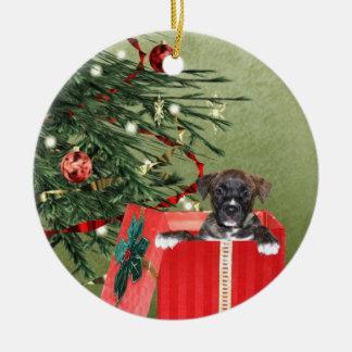 Puppy Christmas Ceramic Ornament