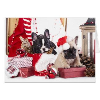 Puppy Christmas French Bulldog Card